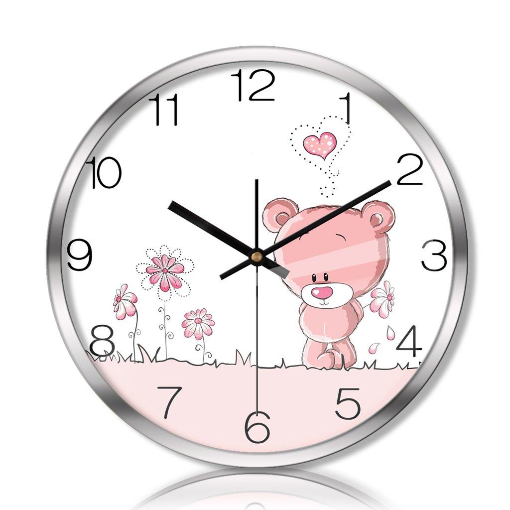 Unbekannt Wanduhr Uhr Wanduhr Wohnzimmer Schlafzimmer Stille Scan Metall Quarzuhr Kreative Kinderzimmer Wanduhr wanduhren Rollsnownow (Farbe : Silber, größe : 16 inches)