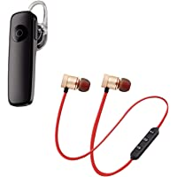 GO SHOPS k1 Bluetooth 4.1 Wireless Headset, Noise Canceling Hands-Free with Magnetic Wireless Bluetooth Sport in-Ear Earbuds & Mic Compatible with All Smartphones (Assorted Colour)