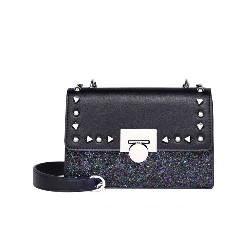 SJMMBB Chain Bag Shiny Small Satchel Cross Mini,Black,14X19.5X5.5Cm