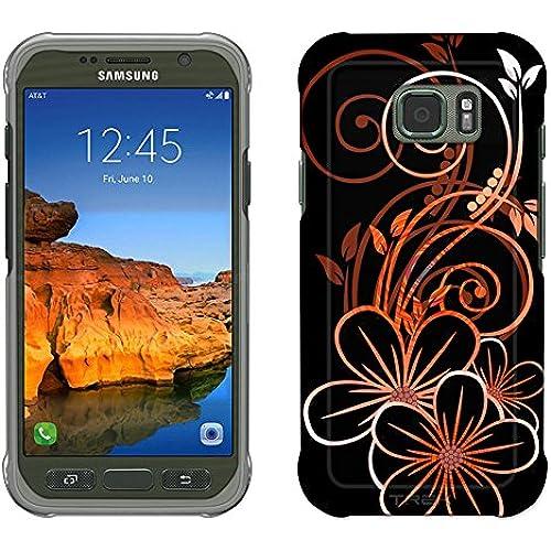 Samsung Galaxy S7 Active Case, Snap On Cover by Trek Sketch of a Flower Orange on Black Slim Case Sales