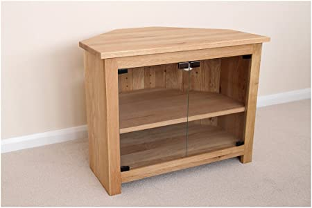Oak Corner Tv Unit With Glass Doors Stand Or Cabinet 1000mm With