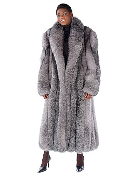 929a55fc76 Madison Avenue Mall Real Fox Fur Coat For Women's Long - Dyed Blue Frost- Sz