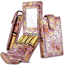 Lipstick Case, Celljoy - [[Built in Touch up Mirror and Card Slot]] Fits 4 LipSense/Younique/Kylie/Liquid Lipstick and Lip Gloss Tubes - for Travel/Purse Storage (Pink Glitter Gold Lips)