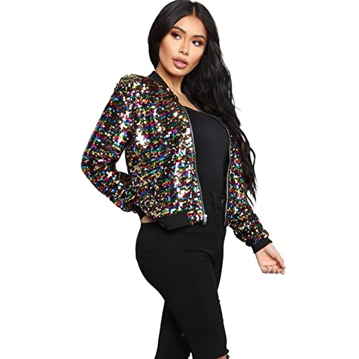 abbd36ee6 2019 Fashion Womens Sequin Bomber Jacket Casual Long Sleeve Short ...