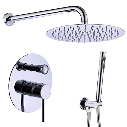 Bathroom Shower Faucet Set Hot And Cold Mixer Panel 10 Inch Air Water Saving Brass Chrome Rain Shower Head Shower Faucets