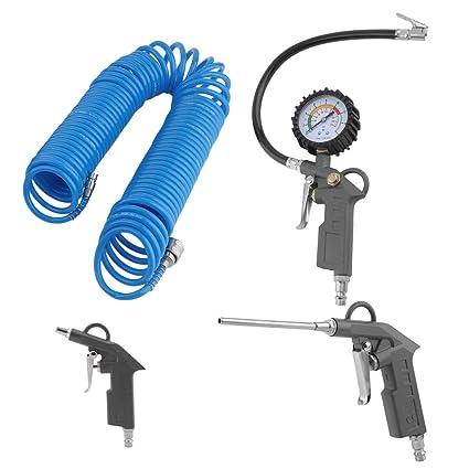prinfong accesorios para compresor de aire 4pcs (pistola de inflado corto, tubo, manómetro