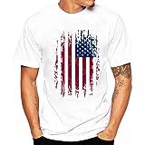 Clearance Lightning Sale Men's Tops,ZYooh Plus Size Flag Print Tee Shirt Short Sleeve Cotton TShirt Blouse (White-C, XL)
