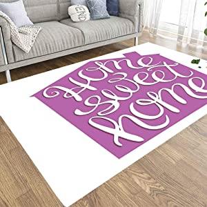 Musesh 3X5 Area Rugs Home Area Rug Kids Area Rugs Soft Area Rug Carpet for Living Room Office Bedroom Dorm Home Sweet Home Hand Calligraphic Typography Housewarming Poster Greeting Card Decoration