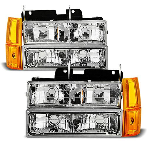 ACANII - For 1994-1998 GMC Sierra C10 Suburban Yukon Bumper+Corner+Signal Lamps+Headlights Driver + Passenger Side (Gmc 1994 Headlights)