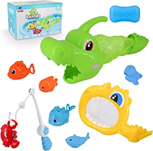 SevenQ Baby Bath Toys, 11 Pcs Shark Grabber Kids Bathtub Bath Toys Set for Toddlers Boys Girls- Fishing Floating Squirt Toys with Pole and Crocodile Net
