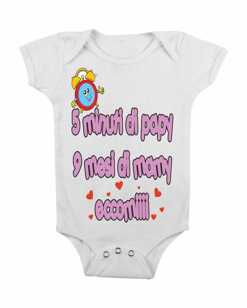 body da neonato 5 minuti di papà 9 mesi di mamma ed eccomi quà by tshirteria t-shirteria