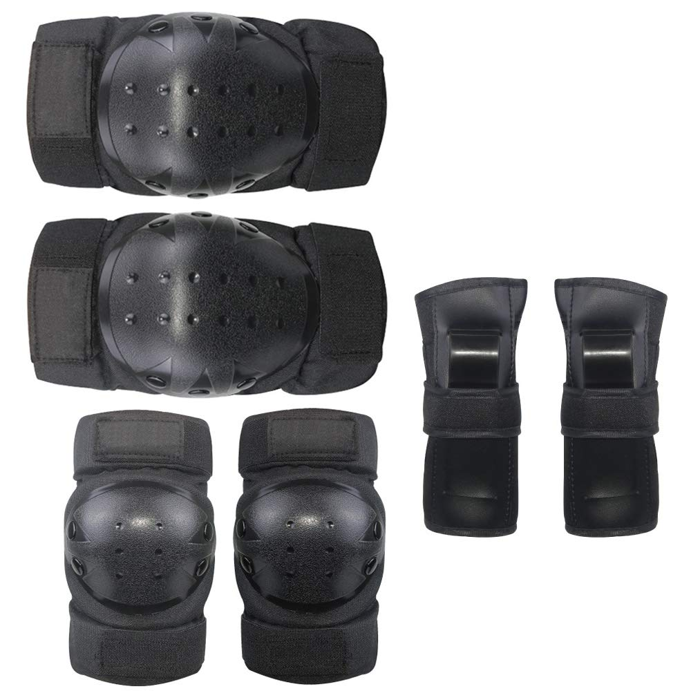 Belldan Kid's Adult Knee Pads Elbow Pads Wrist Guards for Skateboarding Cycling Inline Skating Roller Protective Gear Pack of 6