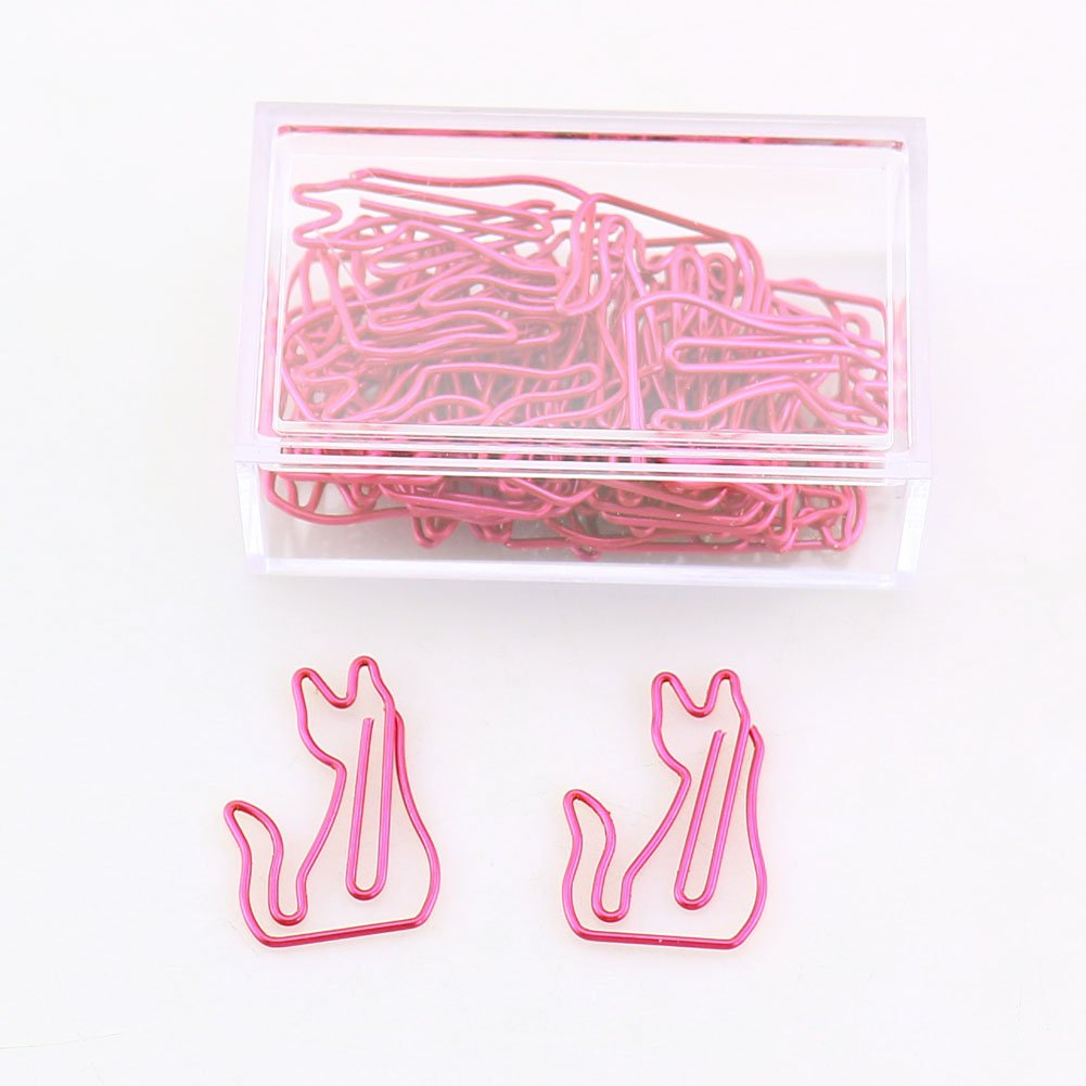 OUTU 30pcs/Box Bear cat Dolphins Shape Paper Clips Candy Color Funny Kawaii Bookmark Office School Stationery Marking Clips H0123 (cat)