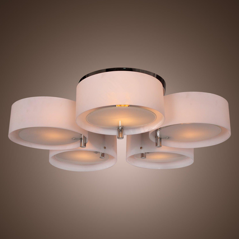 Lightinthebox modern acrylic chandelier with 5 lights flush mount ceiling light fixture chrome finish for study room office bedroom living room