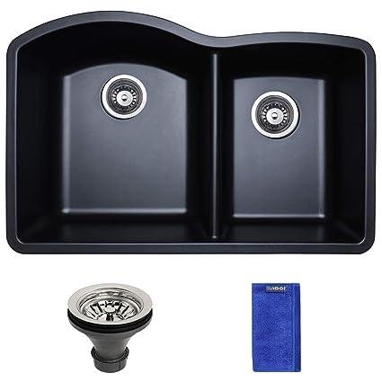 enbol gds 3221 b 32 inch black color double bowl 60 40 undermount rh amazon com