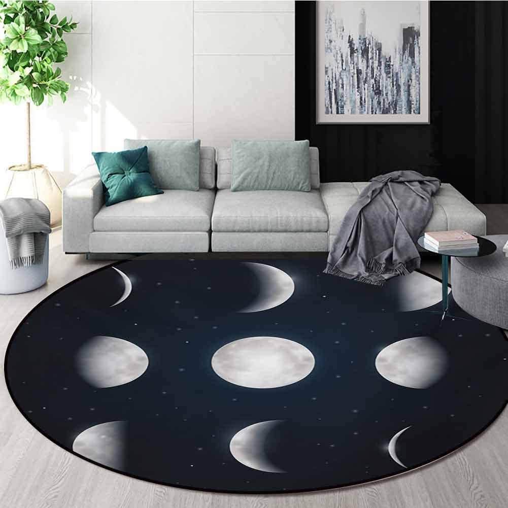 Amazon Com Rugsmat Moon Phases Area Rugs Traditional Design Astronomy Astrology Theme Universe Cosmos Movement Celestial Lunar Round Shape Area Rugs Rug Large Round Rugs Round 55 Inch Dark Blue Silver White Home Kitchen