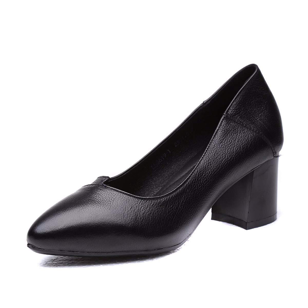 KPHY Damenschuhe/Meine Damen Lederschuhe Einzelne Schuhe Lässige Scherze Flachen Boden Flach Mund Hart Arbeiten Schuhe Damenschuhe.36 Schwarz