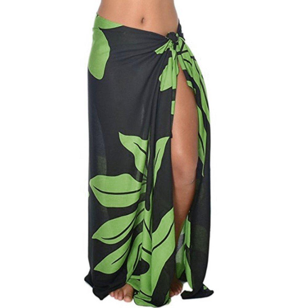 CICIYONER Damen Röcke Frauen Blatt Print Sonnencreme Schal Strand Bikini Bademode Wrap Cover Up Rock