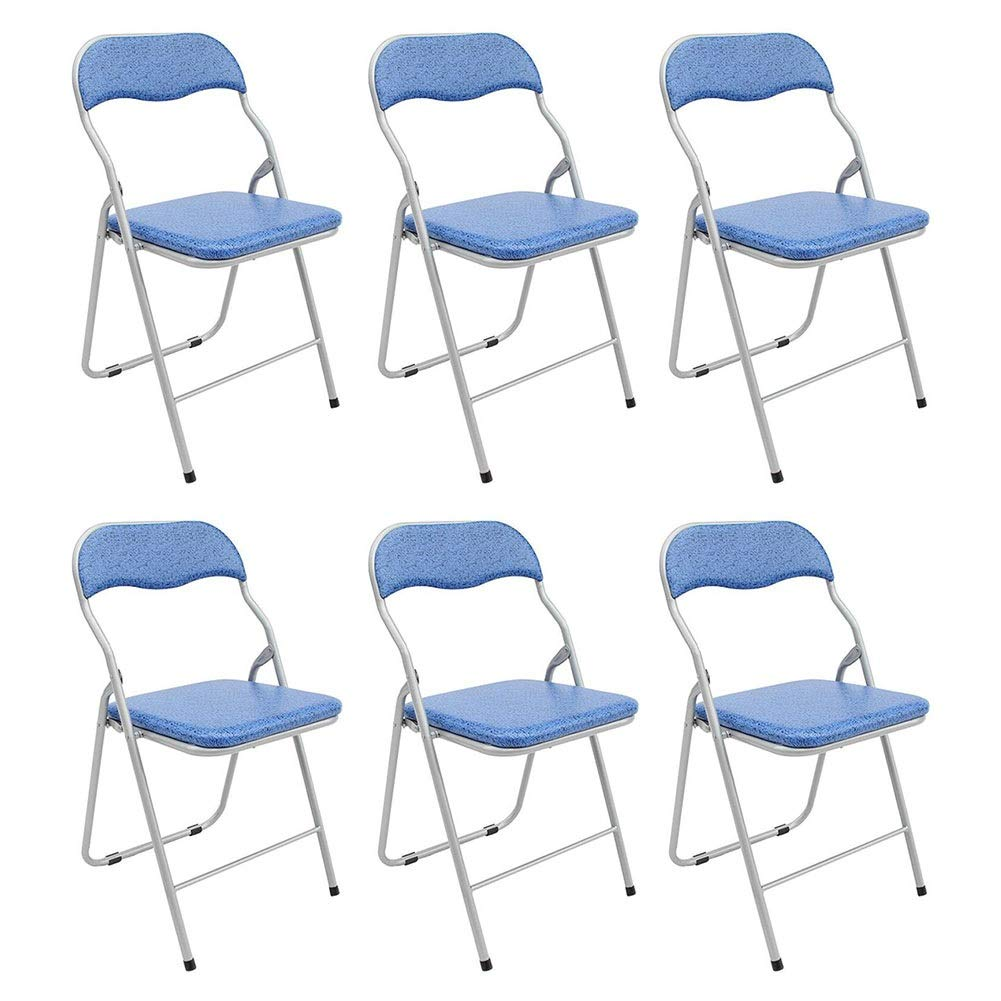 bluee 6 pieces Folding Chair Dall Office Chair Metal Frame Computer Chair Portable Home Dining Chair Staff Chair 36×39×80cm (color   bluee, Size   1 Piece)