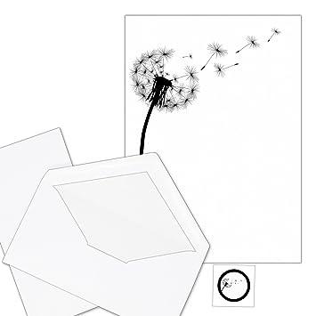 50 Blatt Trauerpapier im Set A4 Briefbögen Etiketten Umschläge Motiv Pusteblume