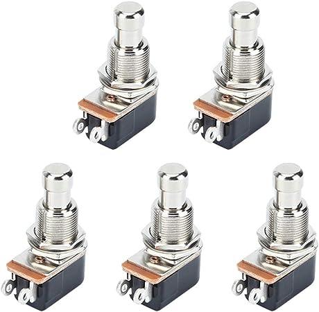 Healifty 5 Piezas Efectos de Guitarra Pedal Botones Selector Interruptor Moment/áneo Metal 2 Pin Interruptor de Pie Guitarra El/éctrica Pedal Pulsador