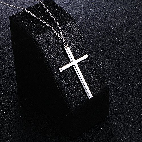 Men's S925 Sterling Silver Classic Cross Pendant Necklace 24'' Silver Chain by SILVER MOUNTAIN (Image #1)