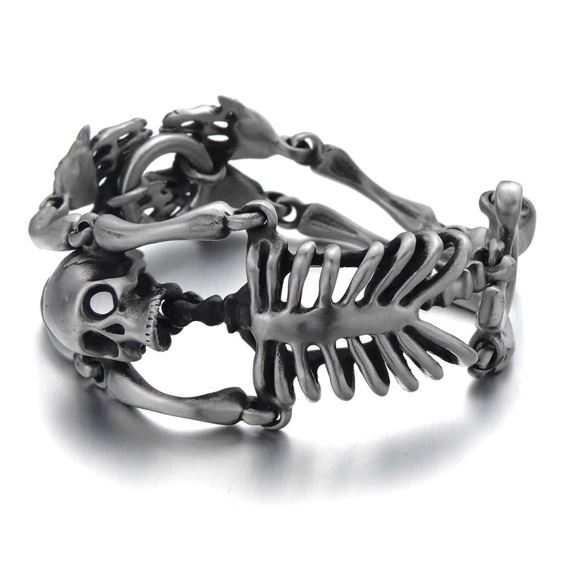 Large Stainless Steel Skull Skeleton Bracelet for Men for Gothic Punk Old Used Metal Treatment