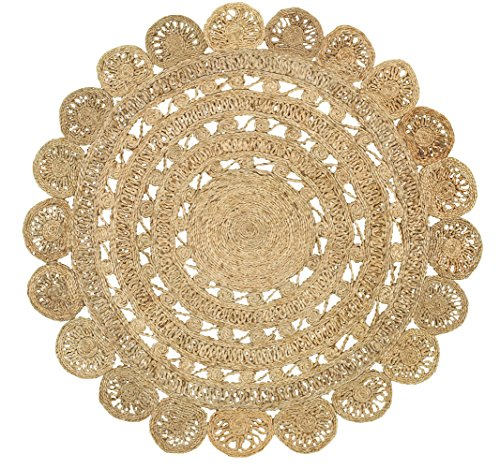 Natural Hemp Rug - LR Resources NATUR50134NAT40RD Jute LR50134-NAT40RD Natural Round X 4 ft Indoor Area Rug, 4' x 4'