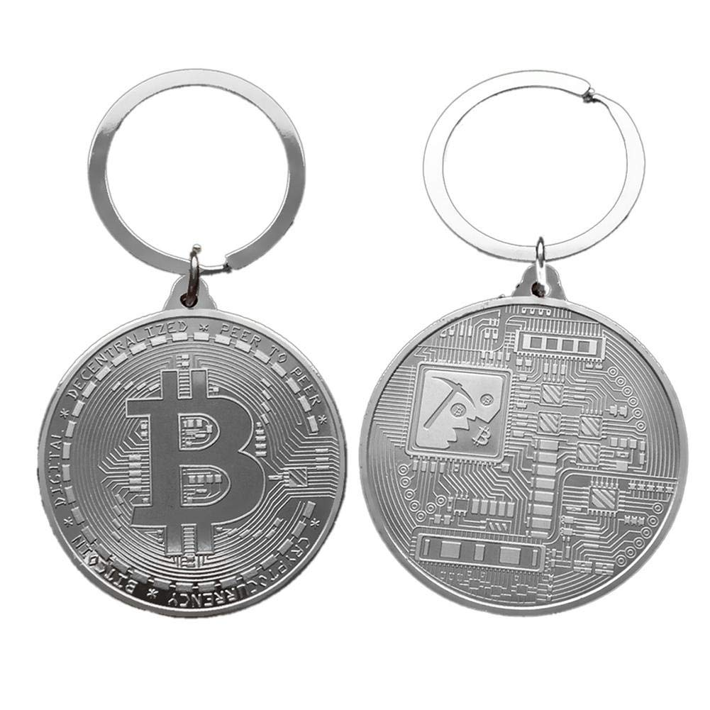 blessvt Llavero Chapado en Oro Moneda de Bitcoin Llavero BTC Moneda Colecci/ón de Arte Ornamento Recuerdo conmemorativo de Arte