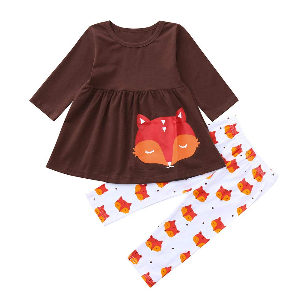 Lucoo Toddler Baby Girls Long Sleeves Fox Print Top+Pants Outfit Kids Clothes Suit Set