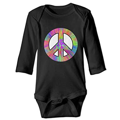 615eaa1e61c Tie Dye Peace Sign Printed Infant Baby Girl Boys Long Sleeve Bodysuit  Jumpsuit Outfits Black