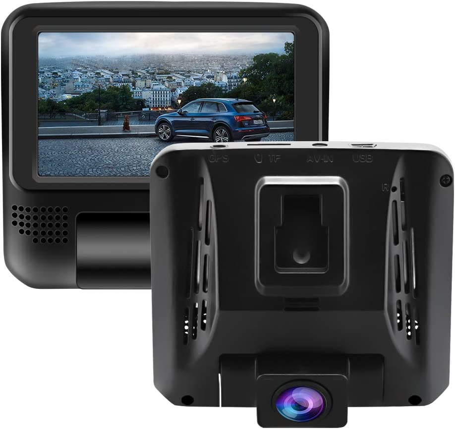 """CHICOM Dash Cam with 3"""" Touch Screen, 1080P Front and Rear Dual Dash Camera for Cars Waterproof Backup Camera with Parking Monitor, G-Sensor, Loop Recording (N302)"""