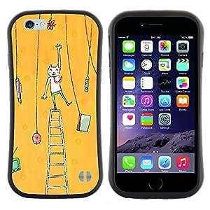 "Hypernova Slim Fit Dual Barniz Protector Caso Case Funda Para Apple (4.7 inches!!!) iPhone 6 / 6S (4.7 INCH) [Pintura del arte del gato amarillo""]"