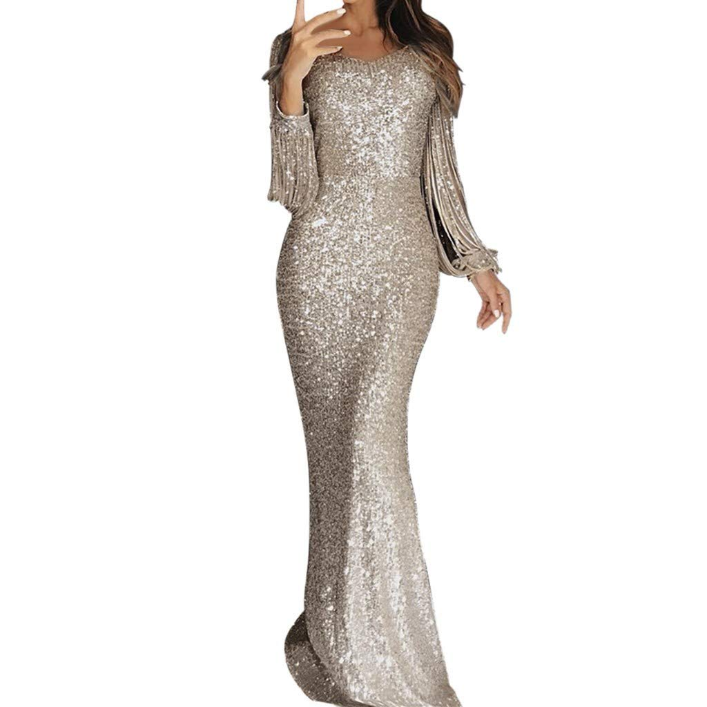 TUU Women Sexy Slim Solid Color Sequins Deep V Hollow Out Long Sleeve Mop Long Dress Gold by TUU