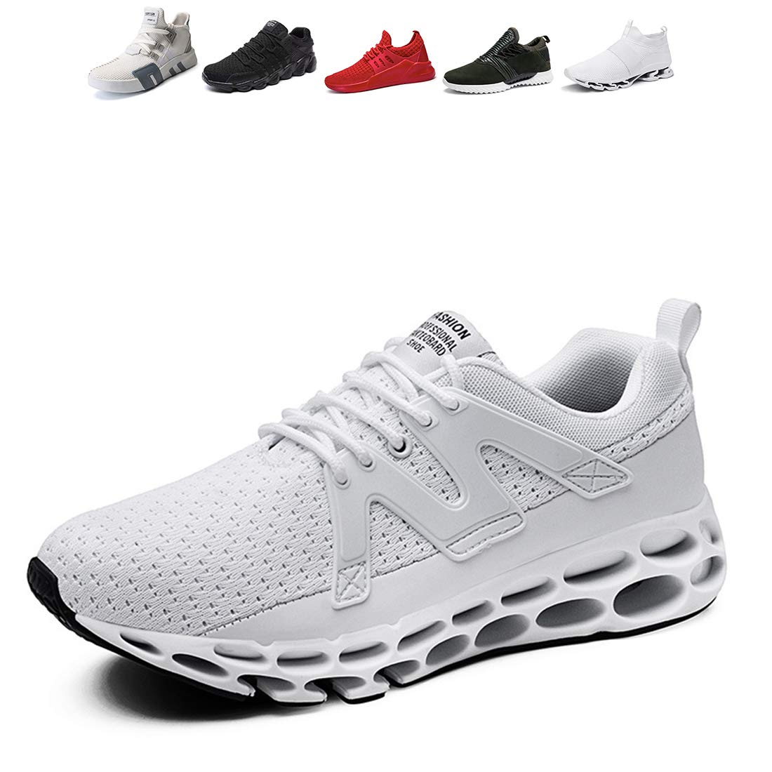 Oumanke Men Sports Running Shoes Breathable Sneakers Hiking Jogging Fishing Yoga Traveling White9 US7