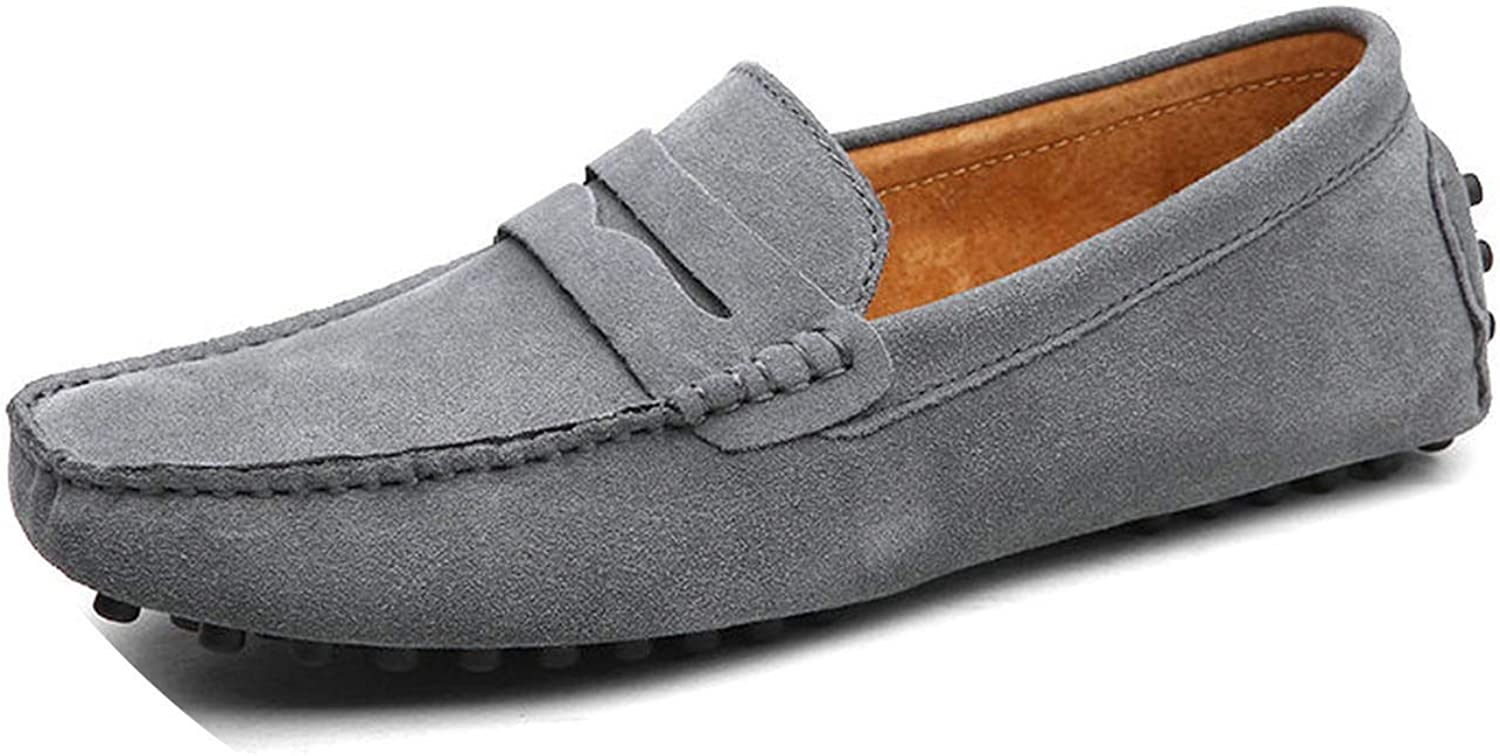 Men Casual Shoes Men Shoes Genuine Leather Men Loafers Moccasins Slip On Mens Flats Male Driving Shoes,01 Gray,11