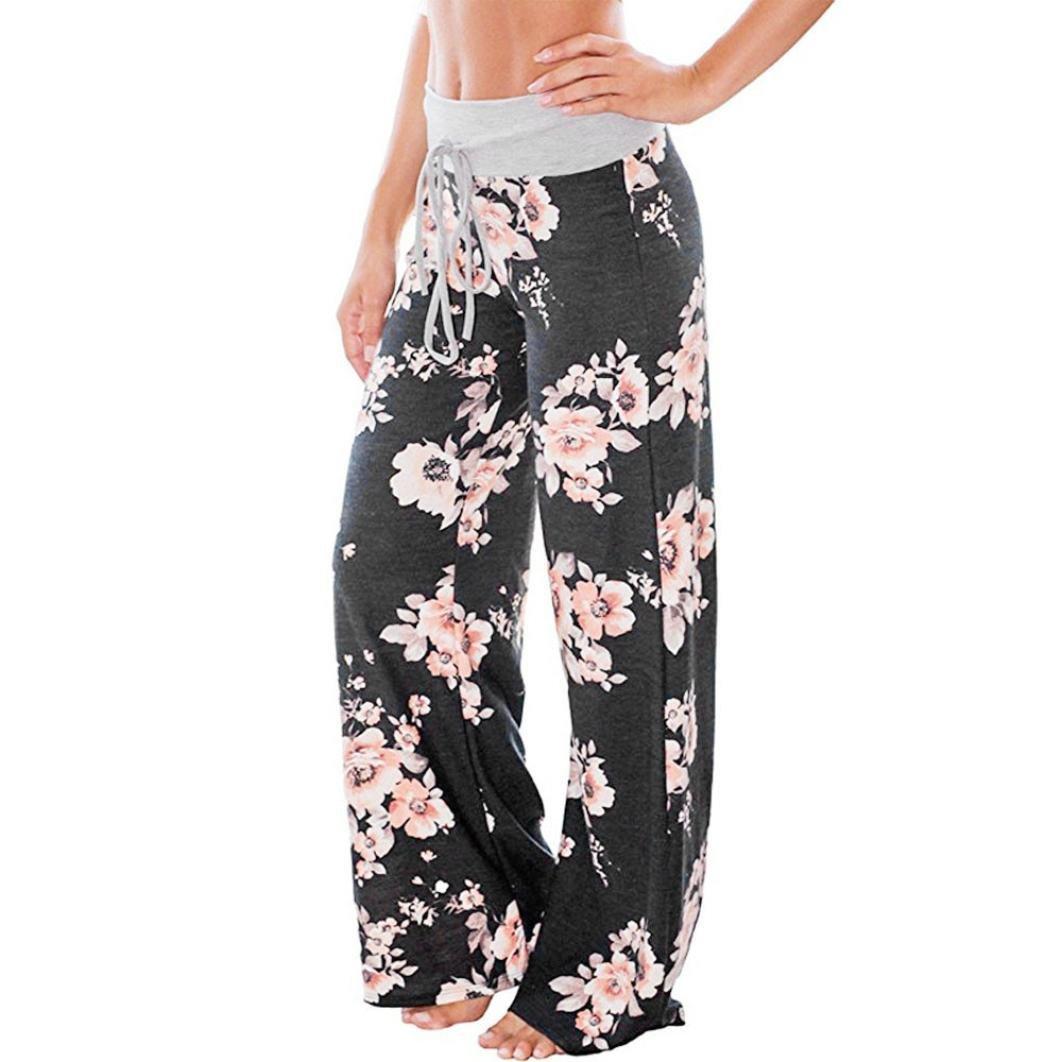 afa60786e6d1 KMG Wide Leg Pants, Women Floral Print High Waist Loose Casual Drawstring  Trousers