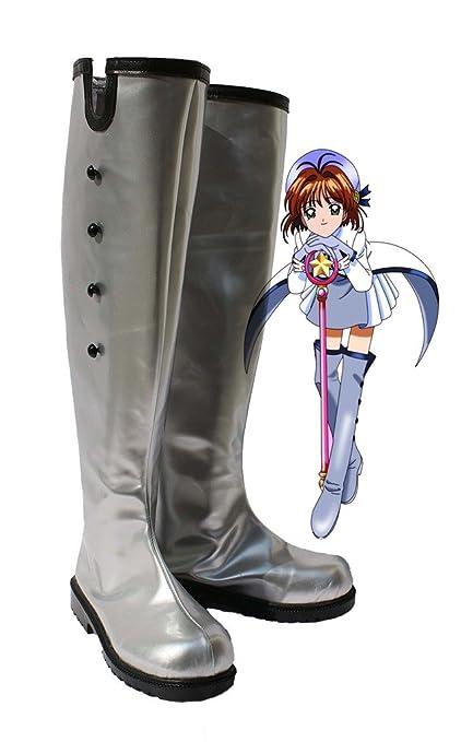 SAKURA KINOMOTO Cosplay Shoes Boots Custom Made Silver