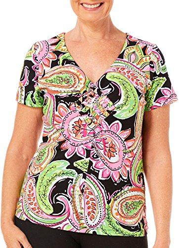 Caribbean Joe Petite Paisley Print Basket Weave Top Small Petite - Print Weave Basket Shirt