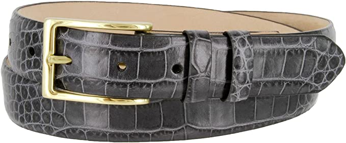 "The Adam Italian Calfskin Leather Dress Belt 1-1//8/"" Wide with Gold Buckle"