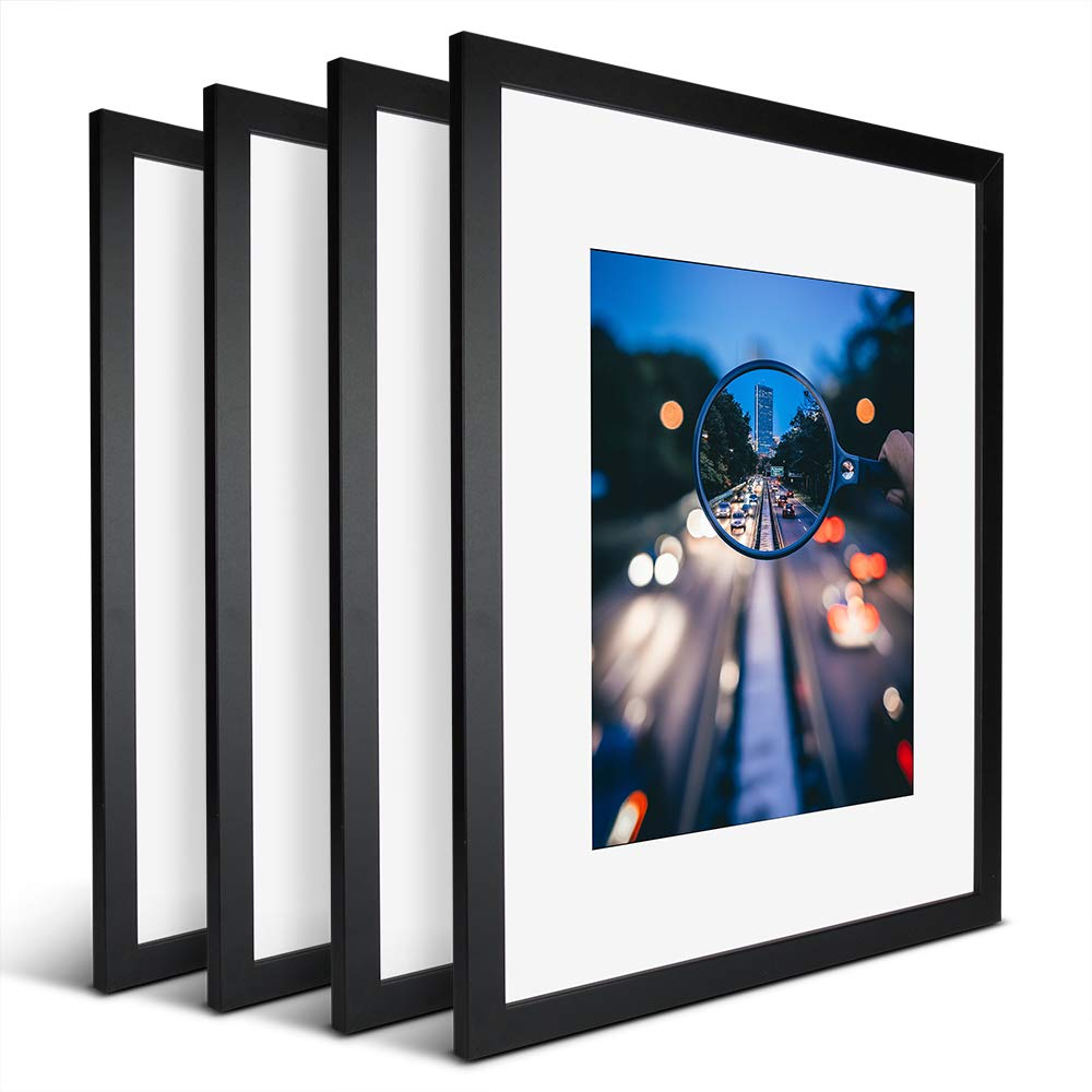iDecorlife Premium 16x20 Black Picture Frames 4PCs - 11x14 Picture Frame with Mat or 16x20 Picture Frame Without Mat - Wall Mounting Ready Real Wood Photo Frame by iDecorlife