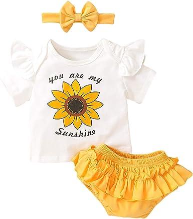 Spitzen Slips Stirnband Neugeborene Kleinkinder Sommer Babyset Kleidung YEBIRAL Babykleidung Set Baby M/ädchen Kurzarm Body Strampler