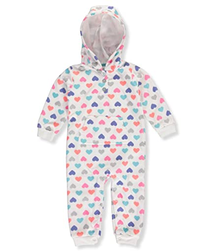 754d7c0e028 Carters Baby Girls Multi Heart Print Hooded Fleece Jumpsuit 6 Months   Amazon.in  Baby