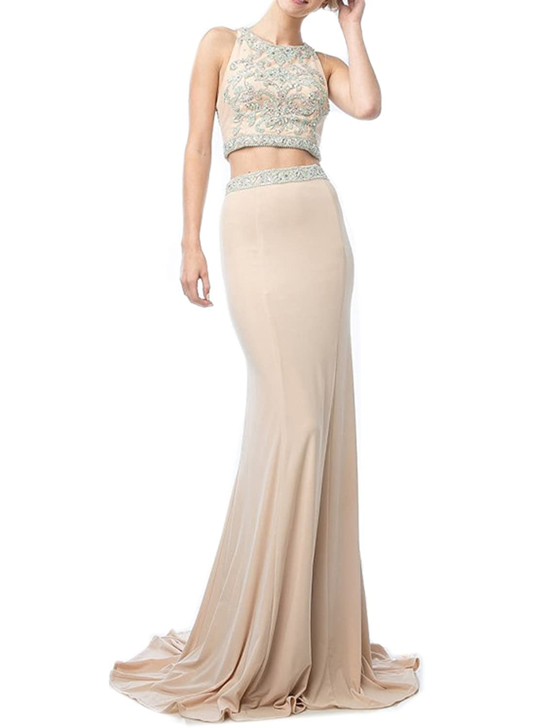 Engerla Women's Satin Jewel Beading Crystal Applique Backless Two-piece Mermaid Evening Dress