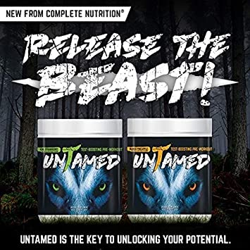 Complete Nutrition UnTamed Pre-Workout, Mango Pineapple, Testosterone Boosting, Increase Energy, Strength, Endurance, 1.3 lb tub 40 servings