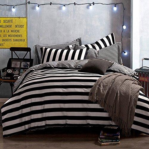 qzzielife 100 cotton 4pc bedding duvet cover sets striped black white