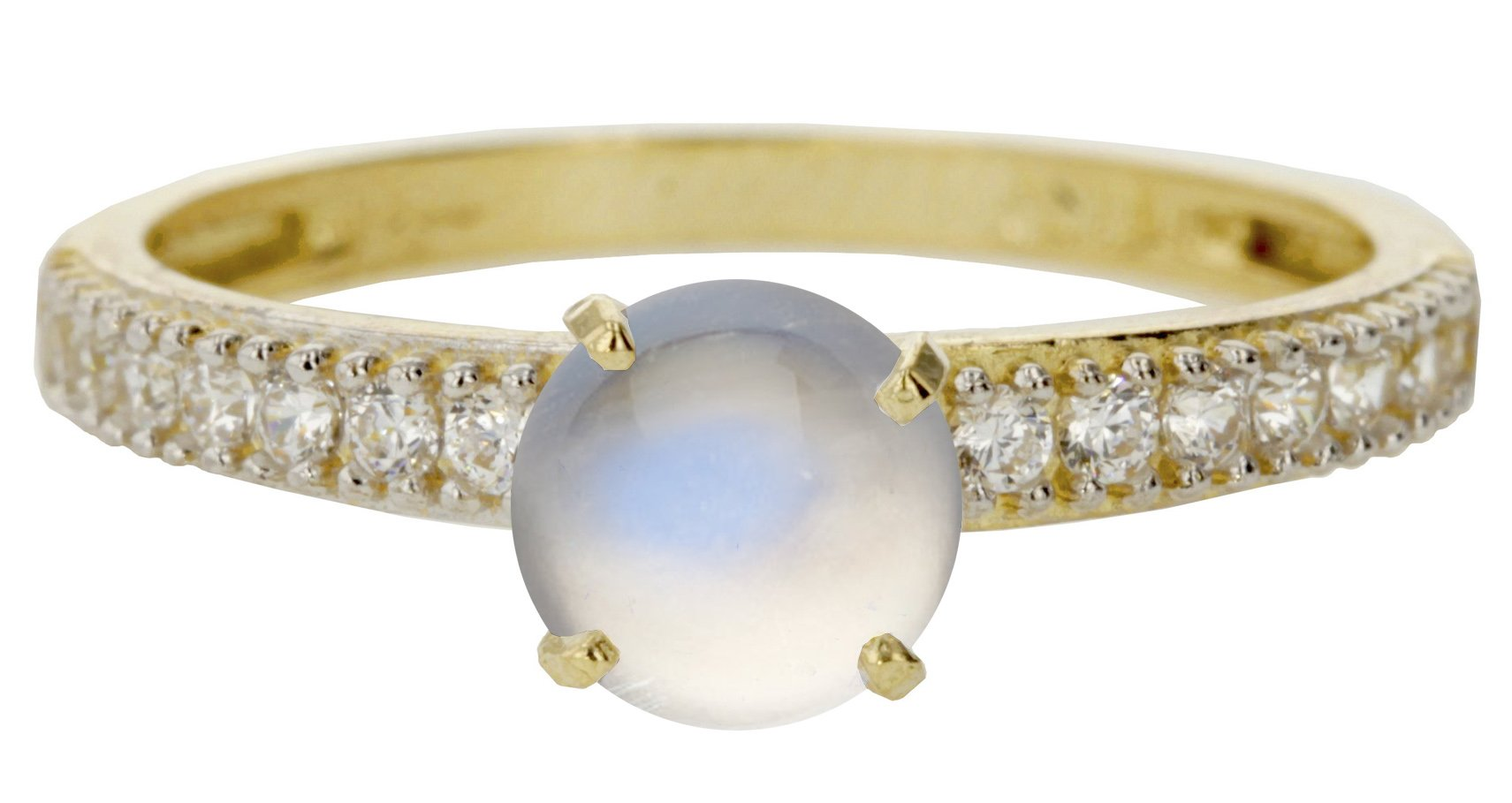 14k Yellow Gold Cabochon Natural Genuine White Moonstone Round Engagement Band Wedding Ring Size 7