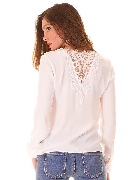 Vila Blusa ibicenca Crochet Espalda Vilaceback Clothes (S - Blanco)