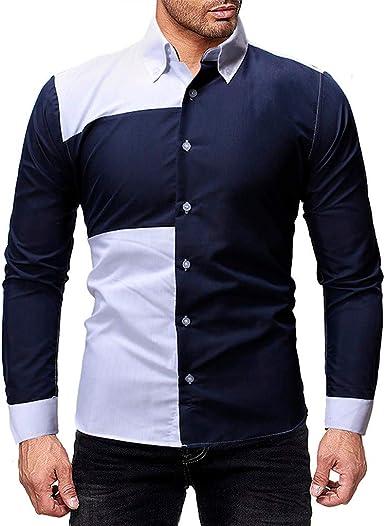 Overdose Camisas Hombre Manga Larga De Vestir Botón De Patchwork para Hombre Blusa Superior Informal De Gran Tamaño Camisas De Moda T Shirt Hombre: Amazon.es: Ropa y accesorios