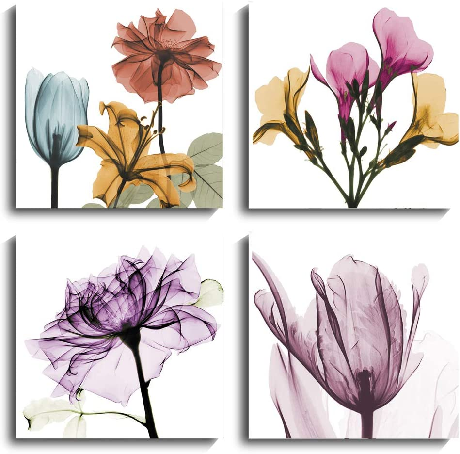 Flower Canvas Wall Art - 4 Panel Flickering Floral Photo Artwork Prints on Canvas for Home Decoration Yoga, Shower, Study Room (Colorful, 16 x 16 inch)